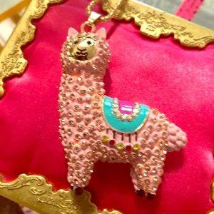 Betsey Johnson Pink Llama Necklace 28 new